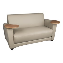 Student Lounge Sofa w/ Tablet Arms - Taupe