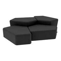 """Shapes Series II Vinyl Soft Seating - Two 12"""" H & Two 18"""" H CommunEDIs (Pack of Four) - Black Smooth Grain"""