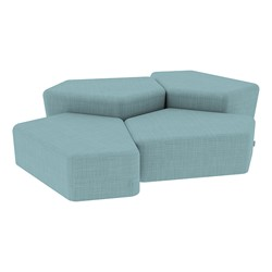 """Shapes Series II Vinyl Soft Seating - Two 12"""" H & Two 18"""" H CommunEDIs (Pack of Four) - Blue Crosshatch"""