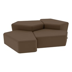 """Shapes Series II Vinyl Soft Seating - Two 12"""" H & Two 18"""" H CommunEDIs (Pack of Four) - Chocolate Smooth Grain"""