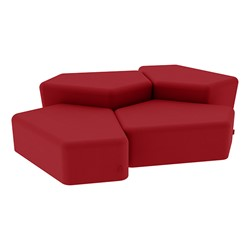 """Shapes Series II Vinyl Soft Seating - Two 12"""" H & Two 18"""" H CommunEDIs (Pack of Four) - Red Smooth Grain"""
