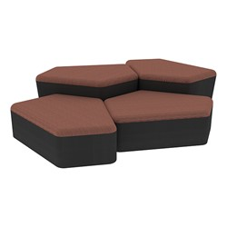 "Shapes Series II Designer Soft Seating - Two 12"" H & Two 18"" H CommunEDIs (Pack of Four) - Brick/Black"