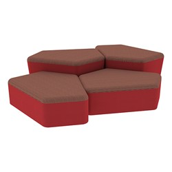 """Shapes Series II Designer Soft Seating - Two 12"""" H & Two 18"""" H CommunEDIs (Pack of Four) - Brick/Red"""