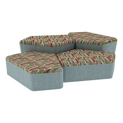 """Shapes Series II Designer Soft Seating - Two 12"""" H & Two 18"""" H CommunEDIs (Pack of Four) - Confetti/Blue"""