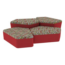 "Shapes Series II Designer Soft Seating - Two 12"" H & Two 18"" H CommunEDIs (Pack of Four) - Confetti/Red"