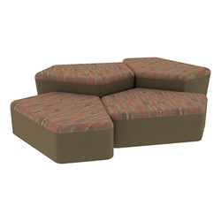 """Shapes Series II Designer Soft Seating - Two 12"""" H & Two 18"""" H CommunEDIs (Pack of Four) - Dark Latte/Chocolate"""
