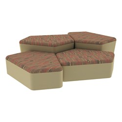 """Shapes Series II Designer Soft Seating - Two 12"""" H & Two 18"""" H CommunEDIs (Pack of Four) - Dark Latte/Sand"""