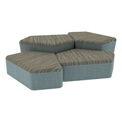 "Shapes Series II Designer Soft Seating - Two 12"" H & Two 18"" H CommunEDIs (Pack of Four) - Pecan/Blue"