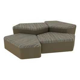"""Shapes Series II Designer Soft Seating - Two 12\"""" H & Two 18\"""" H CommunEDIs (Pack of Four) - Pecan/Chocolate"""