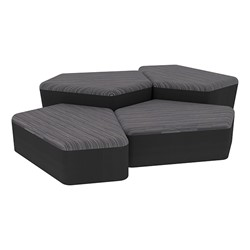 "Shapes Series II Designer Soft Seating - Two 12"" H & Two 18"" H CommunEDIs (Pack of Four) - Pepper/Black"
