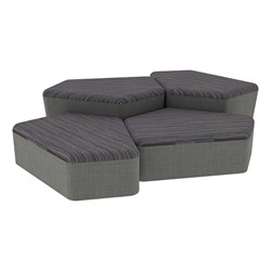 "Shapes Series II Designer Soft Seating - Two 12"" H & Two 18"" H CommunEDIs (Pack of Four) - Pepper/Gray"