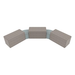 "Shapes Series II Vinyl Soft Seating - Two 12""-High Wedges & Three 18\""-High Rectangles (Pack of Five) - Light gray smooth grain & blue crosshatch"