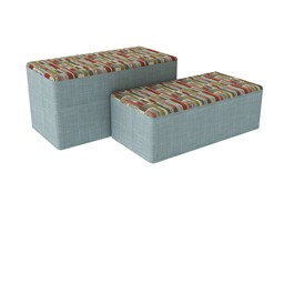 "Shapes Series II Designer Soft Seating - Bench Ottoman (18"" High) - Confetti/Blue"