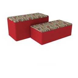 "Shapes Series II Designer Soft Seating - Bench Ottoman (18"" High) - Confetti/Red"
