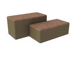 "Shapes Series II Designer Soft Seating - Bench Ottoman (18"" High) - Dark Latte/Chocolate"