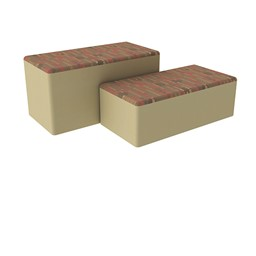 "Shapes Series II Designer Soft Seating - Bench Ottoman (18"" High) - Dark Latte/Sand"