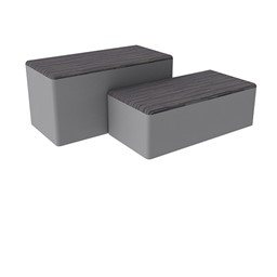 "Shapes Series II Designer Soft Seating - Bench Ottoman (18"" High) - Pepper/Light Gray"