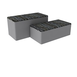 "Shapes Series II Designer Soft Seating - Bench Ottoman (18"" High) - Peppercorn/Light Gray"