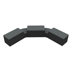 """Shapes Series II Designer Soft Seating - Two 12"""" H Wedges & Three 18"""" H Rectangles (Pack of Five) - Atomic/Black"""