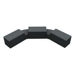 """Shapes Series II Designer Soft Seating - Two 12"""" H Wedges & Three 18"""" H Rectangles (Pack of Five) - Atomic/Navy"""