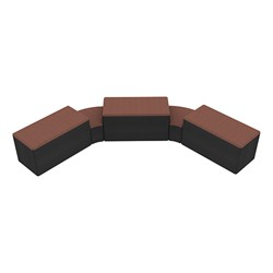 """Shapes Series II Designer Soft Seating - Two 12"""" H Wedges & Three 18"""" H Rectangles (Pack of Five) - Brick/Black"""