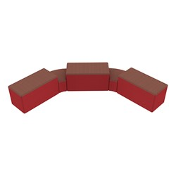 """Shapes Series II Designer Soft Seating - Two 12"""" H Wedges & Three 18"""" H Rectangles (Pack of Five) - Brick/Red"""