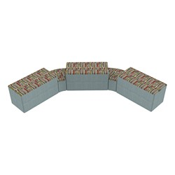 """Shapes Series II Designer Soft Seating - Two 12"""" H Wedges & Three 18"""" H Rectangles (Pack of Five) - Confetti/Blue"""