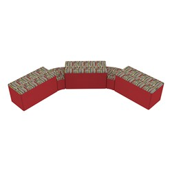 """Shapes Series II Designer Soft Seating - Two 12"""" H Wedges & Three 18"""" H Rectangles (Pack of Five) - Confetti/Red"""