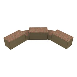 """Shapes Series II Designer Soft Seating - Two 12"""" H Wedges & Three 18"""" H Rectangles (Pack of Five) - Dark Latte/Chocolate"""