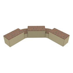"""Shapes Series II Designer Soft Seating - Two 12"""" H Wedges & Three 18"""" H Rectangles (Pack of Five) - Dark Latte/Sand"""