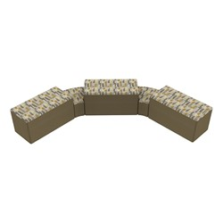 """Shapes Series II Designer Soft Seating - Two 12"""" H Wedges & Three 18"""" H Rectangles (Pack of Five) - Desert/Chocolate"""