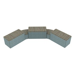 """Shapes Series II Designer Soft Seating - Two 12"""" H Wedges & Three 18"""" H Rectangles (Pack of Five) - Pecan/Blue"""