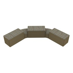 """Shapes Series II Designer Soft Seating - Two 12"""" H Wedges & Three 18"""" H Rectangles (Pack of Five) - Pecan/Chocolate"""