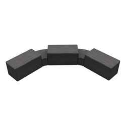 """Shapes Series II Designer Soft Seating - Two 12"""" H Wedges & Three 18"""" H Rectangles (Pack of Five) - Pepper/Black"""