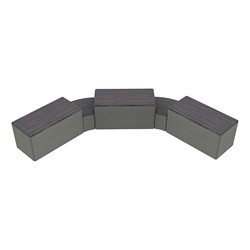 """Shapes Series II Designer Soft Seating - Two 12"""" H Wedges & Three 18"""" H Rectangles (Pack of Five) - Pepper/Gray"""