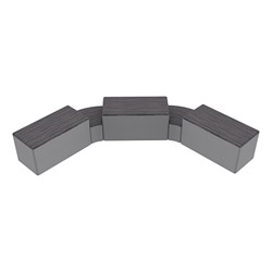"""Shapes Series II Designer Soft Seating - Two 12"""" H Wedges & Three 18"""" H Rectangles (Pack of Five) - Pepper/Light Gray"""