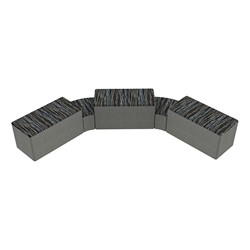 """Shapes Series II Designer Soft Seating - Two 12"""" H Wedges & Three 18"""" H Rectangles (Pack of Five) - Peppercorn/Gray"""