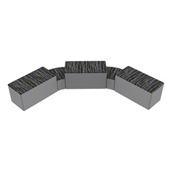 """Shapes Series II Designer Soft Seating - Two 12"""" H Wedges & Three 18"""" H Rectangles (Pack of Five) - Peppercorn/Light Gray"""