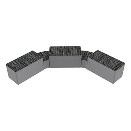 """Shapes Series II Designer Soft Seating - Two 12\"""" H Wedges & Three 18\"""" H Rectangles (Pack of Five) - Peppercorn/Light Gray"""