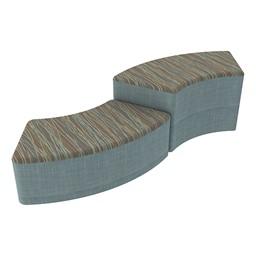 Shapes Series II Designer Soft Seating - S-Curve - Pecan/Blue