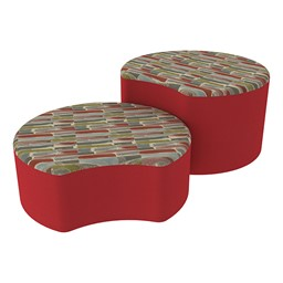 Shapes Series II Designer Soft Seating - Crescent - Confetti/Red