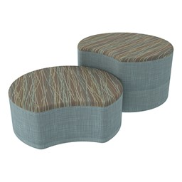 Shapes Series II Designer Soft Seating - Crescent - Pecan/Blue