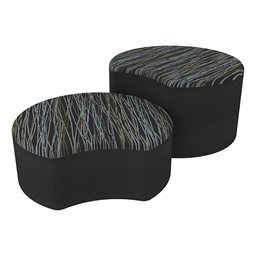 Shapes Series II Designer Soft Seating - Crescent - Peppercorn/Black
