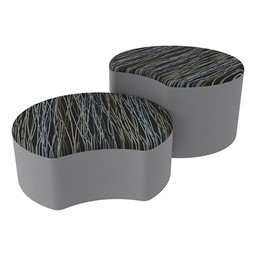 Shapes Series II Designer Soft Seating - Crescent - Peppercorn/Light Gray