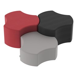 "Shapes Series II Vinyl Soft Seating – One 12""-High & Two 18""-High Cogs (Pack of 3) - Red smooth grain, black smooth grain & light gray smooth grain"