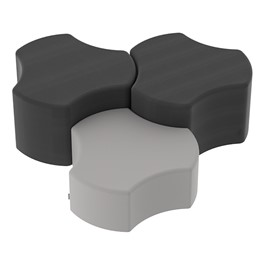"Shapes Series II Vinyl Soft Seating – One 12""-High & Two 18\""-High Cogs (Pack of 3) - Red smooth grain, black smooth grain & light gray smooth grain"