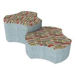Shapes Series II Designer Soft Seating - Cog - Confetti/Blue