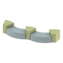 """Shapes Series II Vinyl Soft Seating - Two 12""""-High S-Cuves & Two 18""""-High Wedges (Pack of Four) - Blue crosshatch & green crosshatch"""