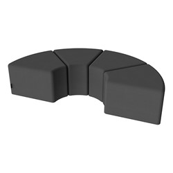 "Shapes Series II Vinyl Soft Seating - 12"" H Wedge Four-Pack - Black Smooth Grain"