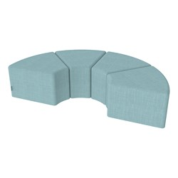 "Shapes Series II Vinyl Soft Seating - 12"" H Wedge Four-Pack - Blue Crosshatch"